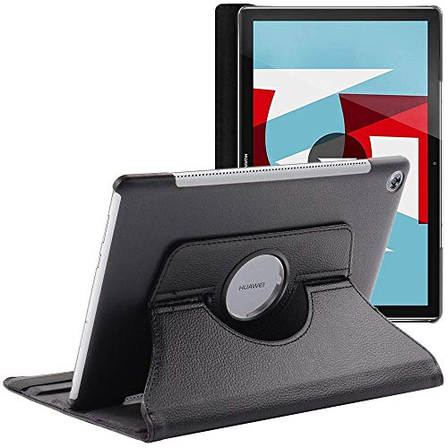ebestStar - Funda Compatible con Huawei MediaPad M5 10.8 Carcasa Cuero PU, Giratoria 360 Grados, Función de Soporte, Negro [M5 10.8: 258.7 x 171.8 x 7.3mm, 10.8'']
