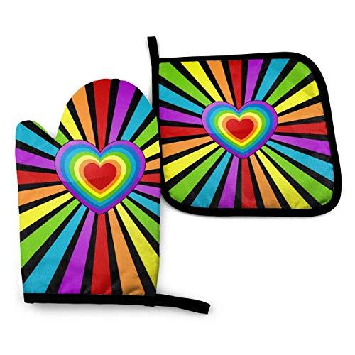 Alvahw Home Küchenofen Handschuhe und Topflappen Set, Regenbogen Herz Hitzebeständig Wasserdicht rutschfeste Grillhandschuhe Hot Pad Set