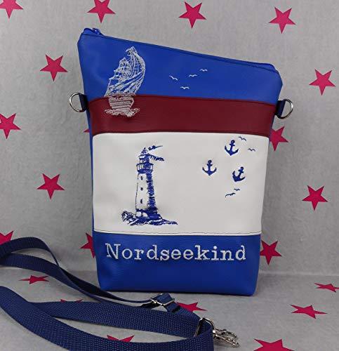 pinkeSterne ☆ Große Umhängetasche NORDSEEKIND Handtasche Schultertasche Kunstleder Bestickt Stickerei Handmade Meer Blau Rot Weiß