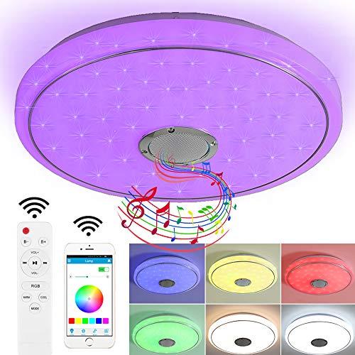 Natsen 24W Bluetooth Deckenleuchte LED Deckenlampe mit Bluetooth Lautsprecher, RGB-Funktion, Fernbedienung und APP Steuerung (40 * 40 * 6cm)