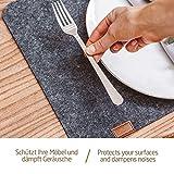 Miqio® - Design Tischset aus Filz   Marken Label aus echtem Leder   6er Set Platzset (dunkel grau anthrazit) abwaschbar   Filzmatte Tisch Untersetzer Platzdeckchen abwischbar - 2