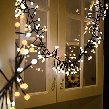 Globe String Lights,Bienna UL Listed Plug In 10 ft/3 M 400 LED Ball Fairy Lighting [Waterproof] [8 Modes] for Outdoor Indoor Bedroom Patio Christmas Xmas Holiday Wedding Party (Warm White+Cool White)