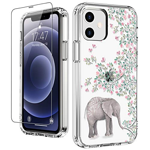 """LUHOURI for iPhone 12 Case,iPhone 12 Pro Case with Screen Protector,Elephant Floral Flower Designs on Crystal Clear Cover for Women Girls,Protective Phone Case for iPhone 12/12 Pro 6.1"""""""