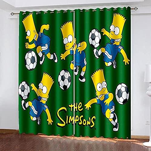Cortinas Opacas Termicas 2 Panel 92x160cm Térmicas Aislantes con Ojales Moderno Decoración Ventanas para Dormotorio Habitacion Salon, Simpsons
