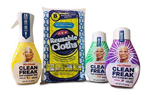 Mr. Clean CLEAN FREAK Multipurpose Cleaning Variety Bundle: 1 Lemon Zest Starter + 1 Lavender Refill + 1 GAIN Refill +8 HEB Antimicrobial Reusable Cloths