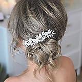 Ushiny Peines para el pelo de la boda de la flor de la novia, accesorios para el pelo para mujeres y niñas (plata)