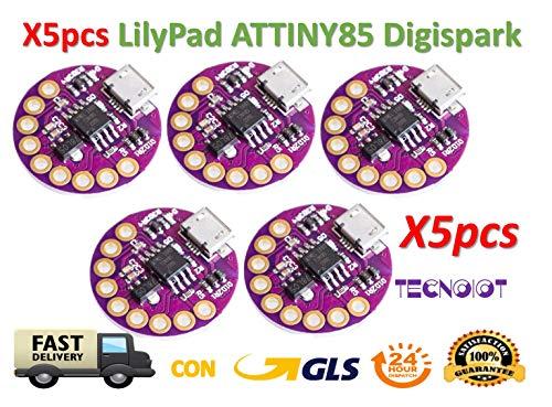 TECNOIOT 5pcs Lilypad ATTINY85 Digispark Wearable Device