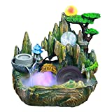 XYing Tabletop Fountain Indoor Small Rockery Desktop Mountain Cascading Waterfalls with Mister Waterwheel Mill Rolling...