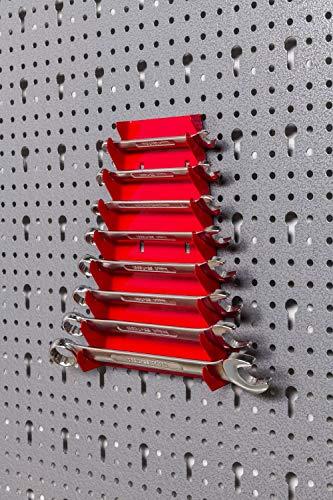Große Werkzeug Lochwand bestehend aus 4 Lochblechen á 58 x 40 cm und Hakensortiment 22 Teile. Aus Metall in Hammerschlag-Grau und Rot. Gesamtmaß: 160 x 58 x 1 cm - 5