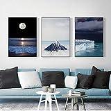 pktmbttoveuhgf Luna océano Nieve montaña Olas Paisaje Pared Arte Lienzo Pintura Carteles e Impresiones imágenes para la decoración del hogar de la Sala de Estar