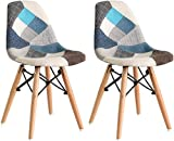 LOVEMYHOUSE Sillas de Comedor de Patchwork Juego de 2 sillas Azules de Ocio con Asiento Suave y Patas de Haya de Respaldo para el hogar la Cocina la Oficina (Azul)
