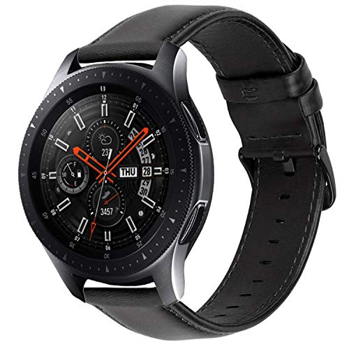 iBazal Bracelets Galaxy Watch 46mm Cuir 22mm Bandes Compatible avec Samsung Galaxy Watch 3 45mm/Gear S3 Frontier Classic Band Peau Remplacement pour Huawei Watch 2 Classic/GT,TicWatch Pro/E2/S2 - Noir