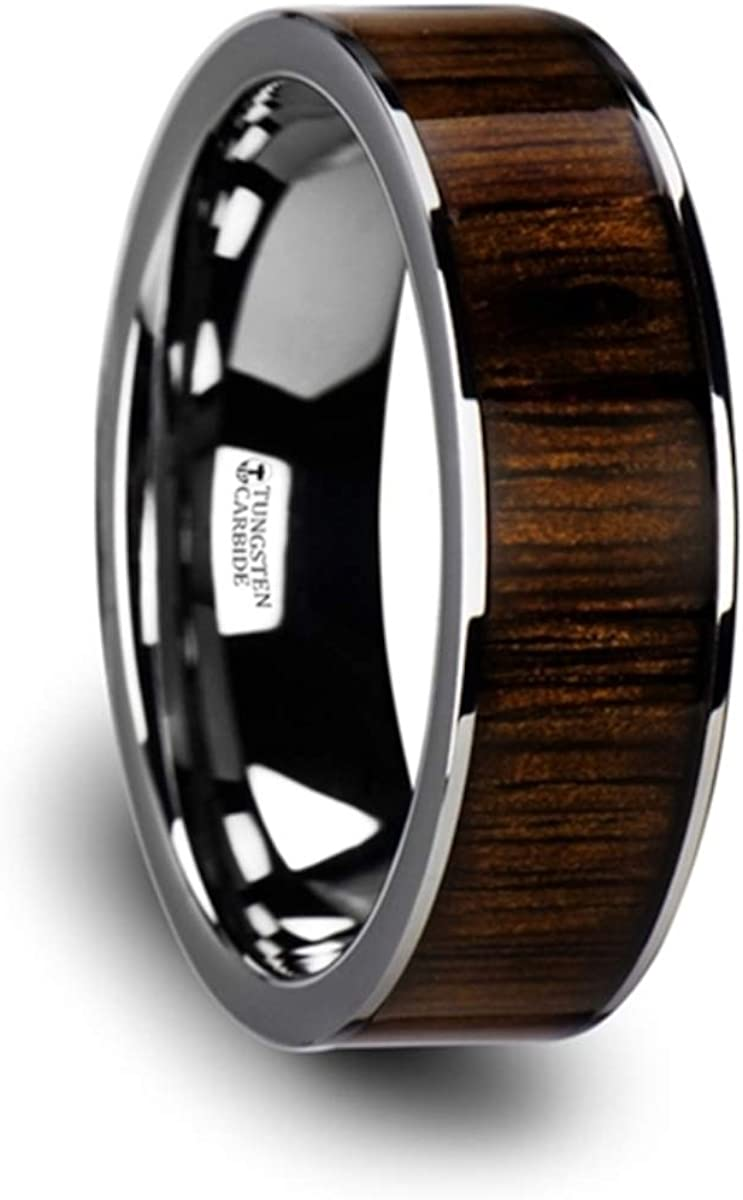 Thorsten BOKKEN | Tungsten Rings for Men | Tungsten | Comfort Fit | Wedding Ring Band with Black Walnut Wood Inlay and Polished Edges - 8mm