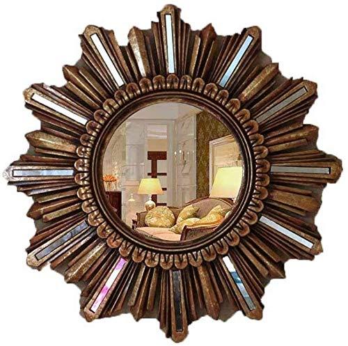 LYP Espejo Maquillarse Espejo de Pared Retro Europea Porche Sala de Estar decoración de la Pared de Espejo (Color : Gold)