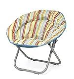 Urban Shop Cabana Stripes Saucer Chair with Light Blue Trim, One Size, Burnt