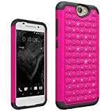 HTC ONE A9 Case , Studded Diamond Hybrid Bling Dual Layer Crystal Rhinestone Cover Silicone Rubber Skin Hard Bumper Case For HTC ONE A9 Case - Hot Pink / Black