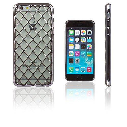 Xcessor Convex Checkered Convexa Ajedrezado Lustroso Funda Carcasa de TPU Gel Flexible para Apple iPhone 6 / 6S. Transparente/Negro