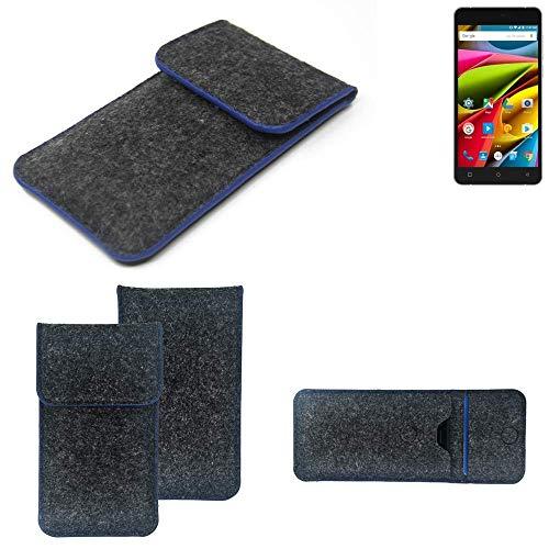 K-S-Trade Filz Schutz Hülle Für Archos 55b Cobalt Lite Schutzhülle Filztasche Pouch Tasche Hülle Sleeve Handyhülle Filzhülle Dunkelgrau, Blauer Rand
