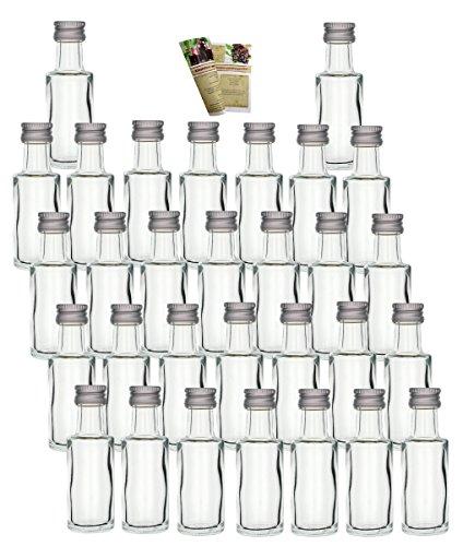 gouveo '60Mini Botellas de Cristal vacías Dora 20ML Cristal biberones Botellas pequeñas. Incl. Rosca, Botellas de Licor Incluso SLK Chupito Botellas vinagre Botellas Botellas de Aceite