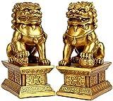 AMYZ Decoración de Feng Shui Estatua Cultural de los Leones de Beijing Par de Perros Fu Foo Estatuas de león guardián felicitación de inauguración de la casa para protegerse de