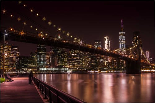 Posterlounge Acrylglasbild 90 x 60 cm: Manhattan Skyline & Brooklyn Bridge Sonnenuntergang von Melanie Viola - Wandbild, Acryl Glasbild, Druck auf Acryl Glas Bild