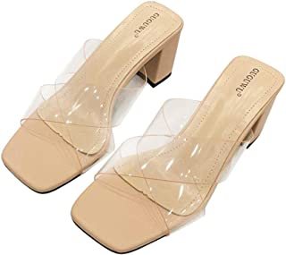 Cosplay-X Women's Mid High Heels Clear Slide Slipper Mules Perspex Transparent Sandals Shoes