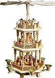 Richard Glässer Weihnachtspyramide Tischpyramide Erzgebirge Seiffen 2-stöckig Christi Geburt Natur, 16721, Höhe 40 cm
