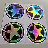 Juego de 4 pegatinas con efecto holográfico, efecto metálico, efecto holograma, arcoíris, pinchazos, mano, coche, JDM Tuning OEM Dub Decal Stickerbomb Bombing Sticker Illest Dapper Fun Oldschool