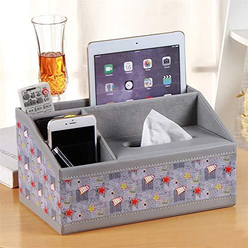 Práctica caja de pañuelos Multifuncional de piel Caja de almacenamiento de escritorio caja de pañuelos tableta del teléfono móvil del almacenaje del asiento de control remoto Usar en dormitorio o coci