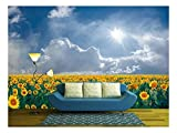 wall26 - Summer Beautyful Landscape with Big Sunflowers Field and Blue Sky with Clouds - Removable Wall Mural | Self-Adhesive Large Wallpaper - 66x96 inches