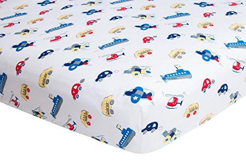Frenchie - Sábana bajera ajustable para cuna (140 x 70 x 20,32 pulgadas, 100% algodón tejido), diseño de coches y barcos