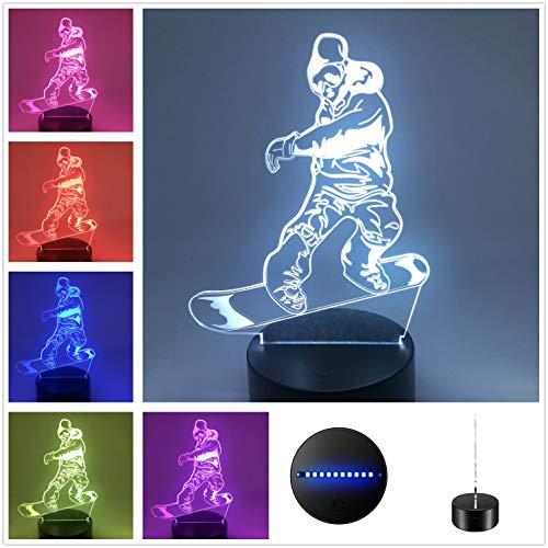 DowBier 3D-Illusion, mehrfarbig, USB-Nachtlicht, Schreibtischlampe, Raumdekoration Snowboard