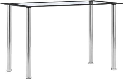 vidaXL Table à Dîner Table de Salle à Manger Table de Cuisine Repas Maison Jardin Terrasse Extérieur Noir et Transparent 120x60x75 cm Verre Trempé