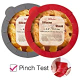 Webake Pie Crust Protector Shield Adjustable Pie Crust Shield Fits 11.5-9 Inch Pie Pan, European Food Grade Silicone Pinch Test Passed, for Baking Halloween Party Pie Tart, Pack of 2, Red and Grey