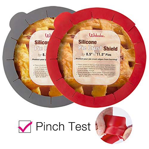 Webake Pie Crust Protector Shield Adjustable Pie Crust Shield Fits 11.5-9 Inch Pie Pan, Pack of 2, Red and Grey