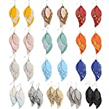 Sntieecr 14 Pairs 3 Layered Leather Earrings Lightweight Faux Leather Leaf Earrings Layered Design Drop Earrings Glitter Dangle Earrings Gift Set for Women