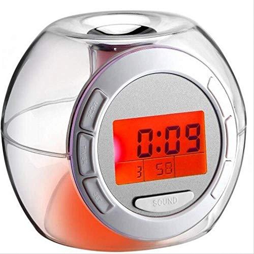 GUOPANG Despertador Multifuncional, Colorido Reloj De Sonido Natural, Cronógrafo Que Cambia De Color, Despertador con Repetición