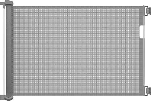 Callowesse©- Air Einziehbares/Einrollbares Tür- und Treppenschutzgitter 0-130cm- Einhandbedienung, Stilles Zurückziehen, Sicherheitsgitter (Grau)