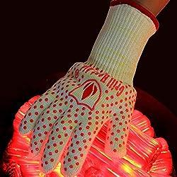 Revolutionäre, sehr hitzebeständige und nach EN407 zertifizierte Handschuhe, halten bis zu 500 Grad Celsius stand, dick, leicht und flexibel, 2 Stück, zur Verwendung in Öfen, Pizzaöfen, mit Pfannen, mit Kaminen und im Freien