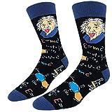 Sockie Men Novelty Einstein Formula Crew Socks, Physics Nerd Genius Math Teacher Funny Gift, Medium