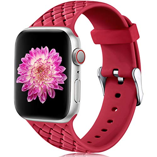Oielai Compatible con Apple Watch Correa 38mm 40mm 42mm 44mm, Impermeable Suave Silicona Tejido Deportes Reemplazo Correas para Iwatch Serie 5 6 4 3 2 1 SE, Mujeres Hombres, Pequeña Rojo