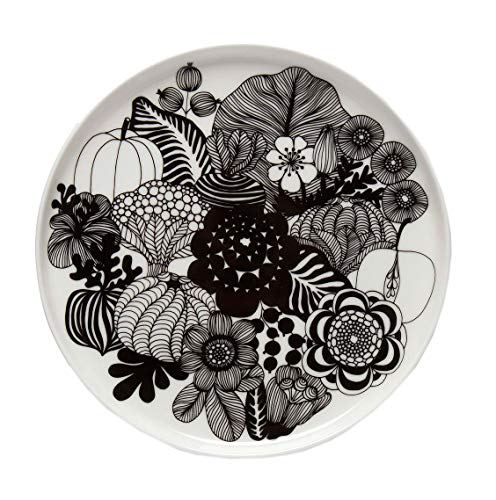 Marimekko - Teller, Kuchenteller, Frühstücksteller - Oiva-Siirtolapuutarha - Keramik - weiß/schwarz - Ø 20 cm - 1 Stück