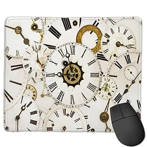 Alfombrilla de ratón de Oficina,Colección de Caras de Reloj clásico Vintage e,Base de Goma Antideslizante Alfombrilla de ratón para Juegos Alfombrilla Decoración de Escritorio 9.8'x11.8'