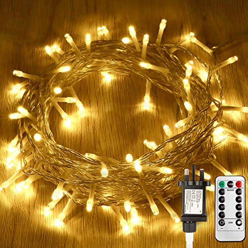Koopower Outdoor Fairy Lights Plug in, 10M 100 LEDs Indoor String Lights Mains Powered 8 Modes Warm White Twinkle Garden Lights for Bedroom Patio Party Festival Decoration(Remote, Timer, Dimmable)