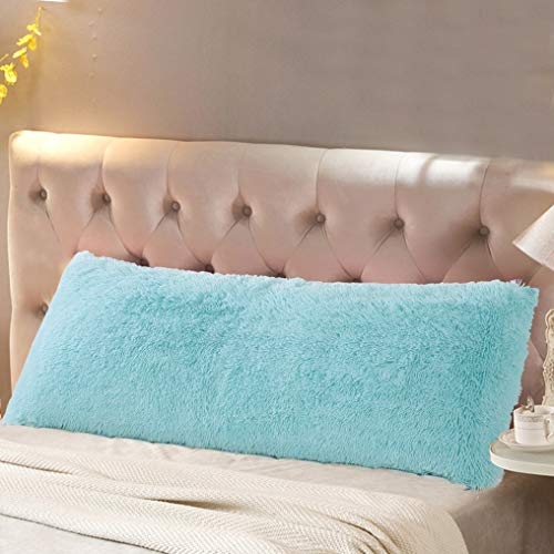 Reafort Luxury Long Hair, PV Fur, Faux Fur Body Pillow Cover/Case 21'x54' with Hidden Zipper Closure (Aqua, 21'X54' Pillow Cover)