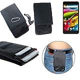 K-S-Trade® Gürtel Tasche Holster Für Archos 55b Cobalt Lite Brusttasche Brustbeutel Schutz Hülle Smartphone Hülle Handy Schwarz Travel Bag Travel-Hülle Vertikal