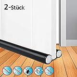 JTENG 2 Stück Zugluftstopper für Türen - Schwarz 90 cm Zuschneidbar & passend für jede Tür Schalldicht und warm,Stoppen Sie