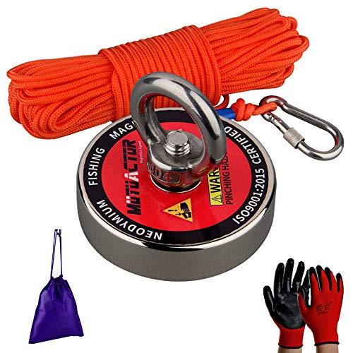 Mutuactor N52 Imán de neodimio,Fuerza de Tracción 180 KG imán superpotente Diámetro 60MM con Cuerda de Nylon robusta de 20M,Adecuado para Imán para Pescar, Rescate, Industria en el Río