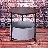End Table Coffee Table, VECDUO Simple Round Wood Side Desk with Storage Bag, Black Double/Three Layer (16.14×16.14×14.57 Inch)