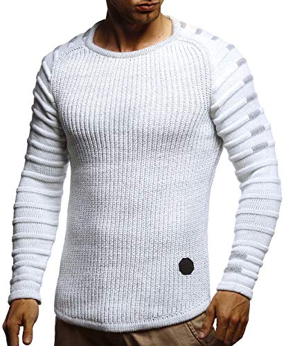 LEIF NELSON Men's Knit Sweater | Pullover With Round Collar | Sweatshirt Slim Fit | LN5705; X-Large, Ecru-Gray